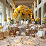 yellow roses and white hydrangea tall centerpieces reception florist perla farms wedding flowers.